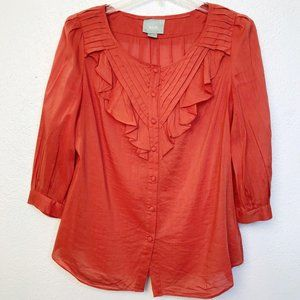 Anthropologie Button Down Peasant Top 6